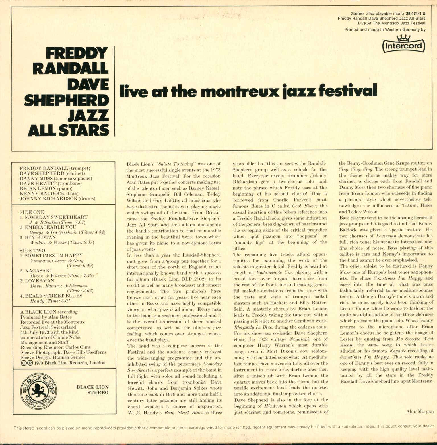 Freddy Randall Dave Shepherd Jazz All Stars: Live At The Montreux Jazz Festival, 1×LP (Vinyl)