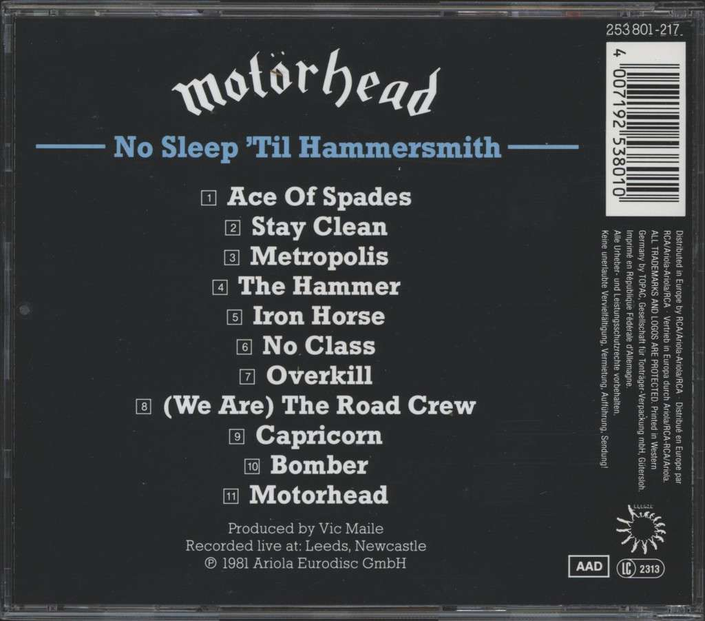 Motörhead: No Sleep 'Til Hammersmith, CD
