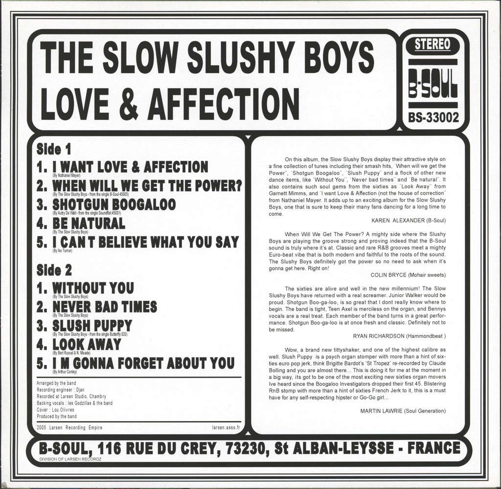"Slow Slushy Boys: Love & Affection, 10"" Vinyl EP"