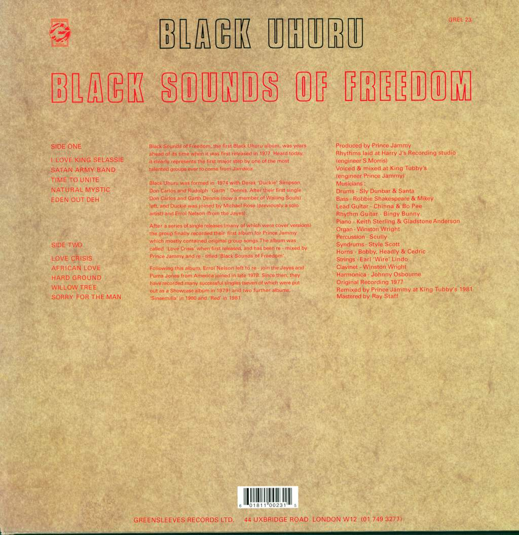Black Uhuru: Black Sounds Of Freedom, LP (Vinyl)