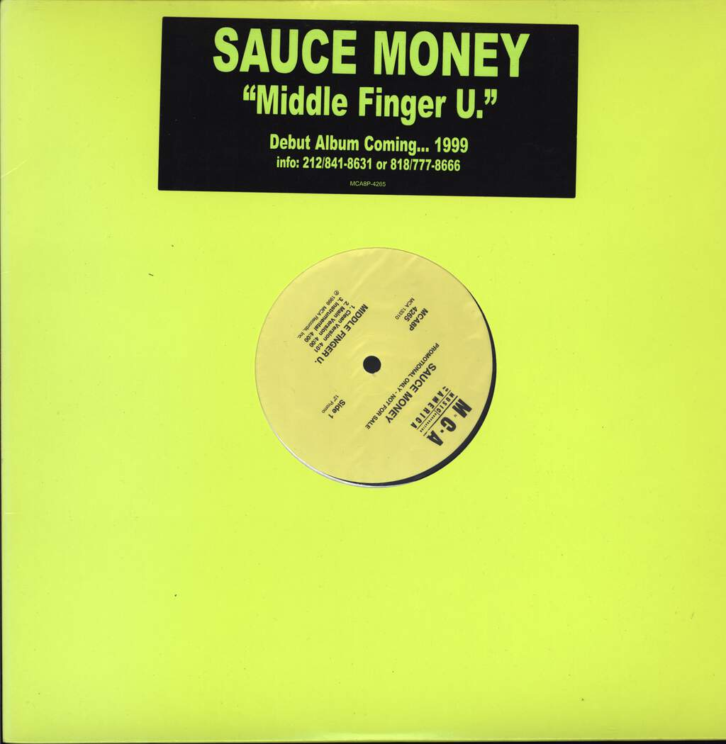 "Sauce Money: Middle Finger U. / Pre-Game, 12"" Maxi Single (Vinyl)"