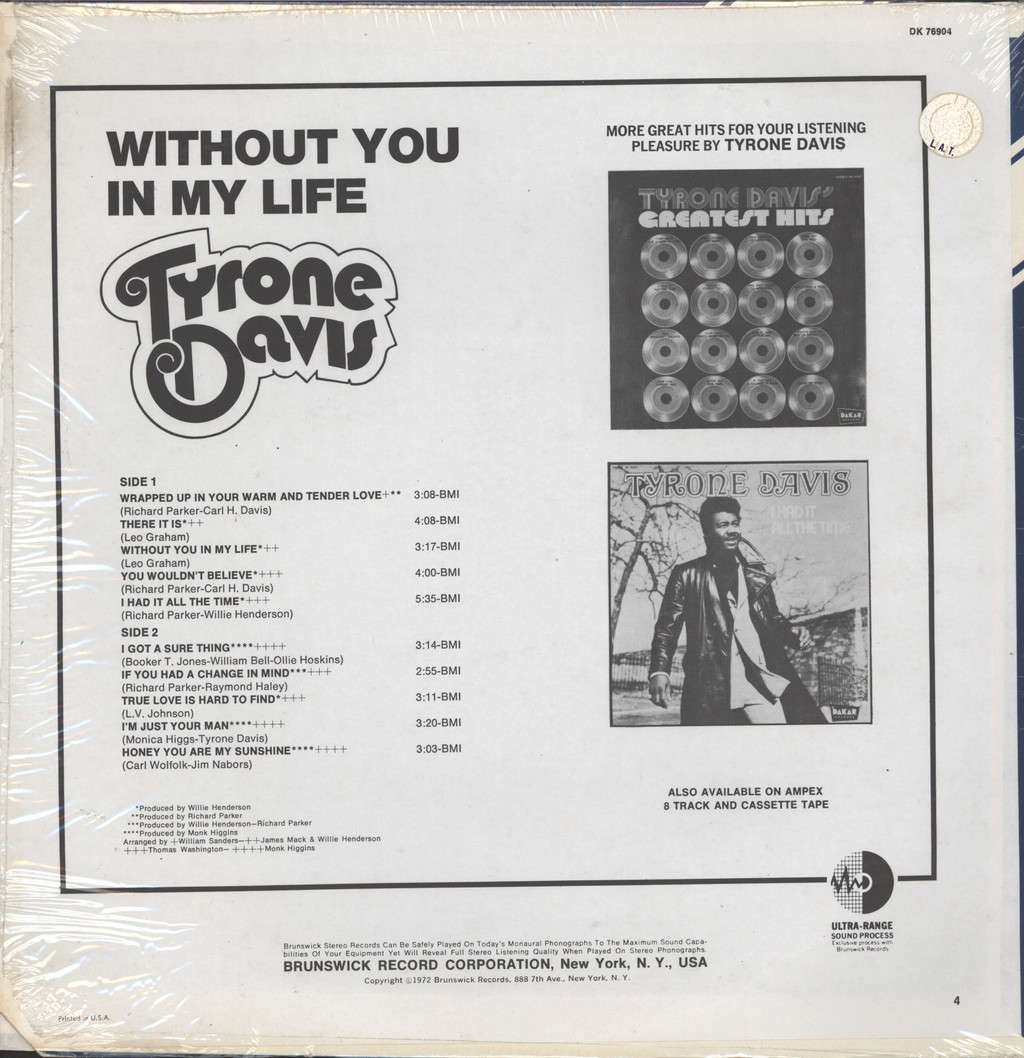 Tyrone Davis: Without You In My Life, LP (Vinyl)