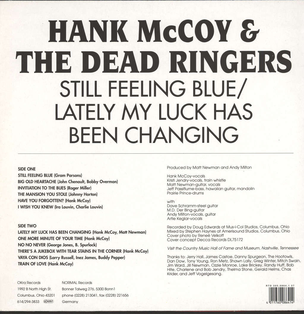 Hank McCoy & The Dead Ringers: Still Feeling Blue / Lately My Luck Has Been Changing, LP (Vinyl)