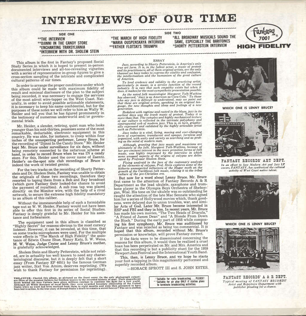 Lenny Bruce: Interviews Of Our Times, LP (Vinyl)