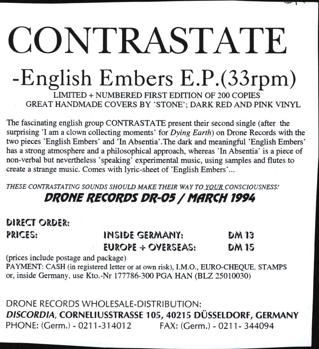 "Contrastate: English Embers, 7"" Single (Vinyl)"