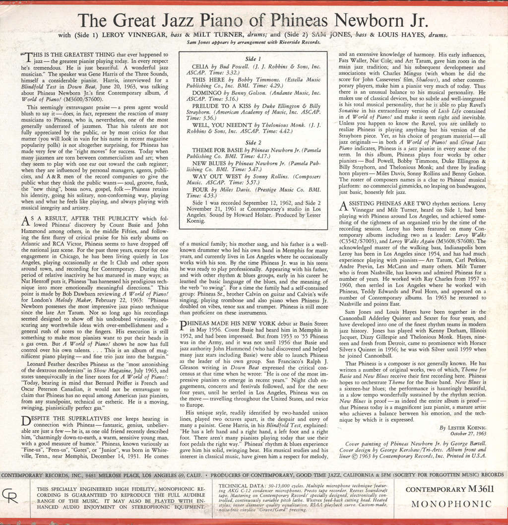 Phineas Newborn Jr.: The Great Jazz Piano Of Phineas Newborn Jr., LP (Vinyl)