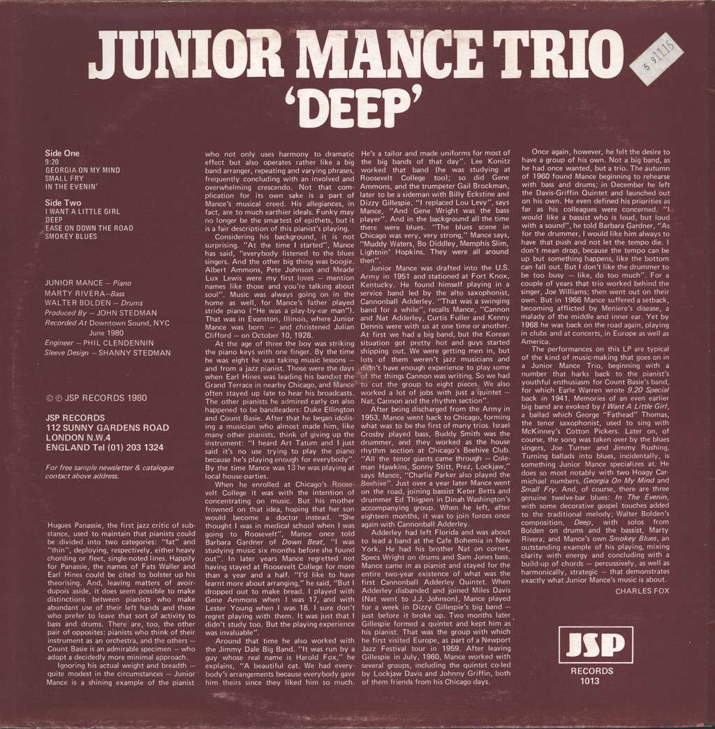 Mance Trio, Junior: Deep, LP (Vinyl)