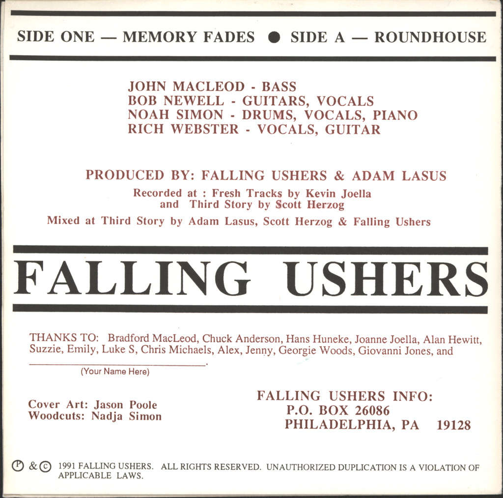 "Falling Ushers: Memory Fades / Roundhouse, 7"" Single (Vinyl)"
