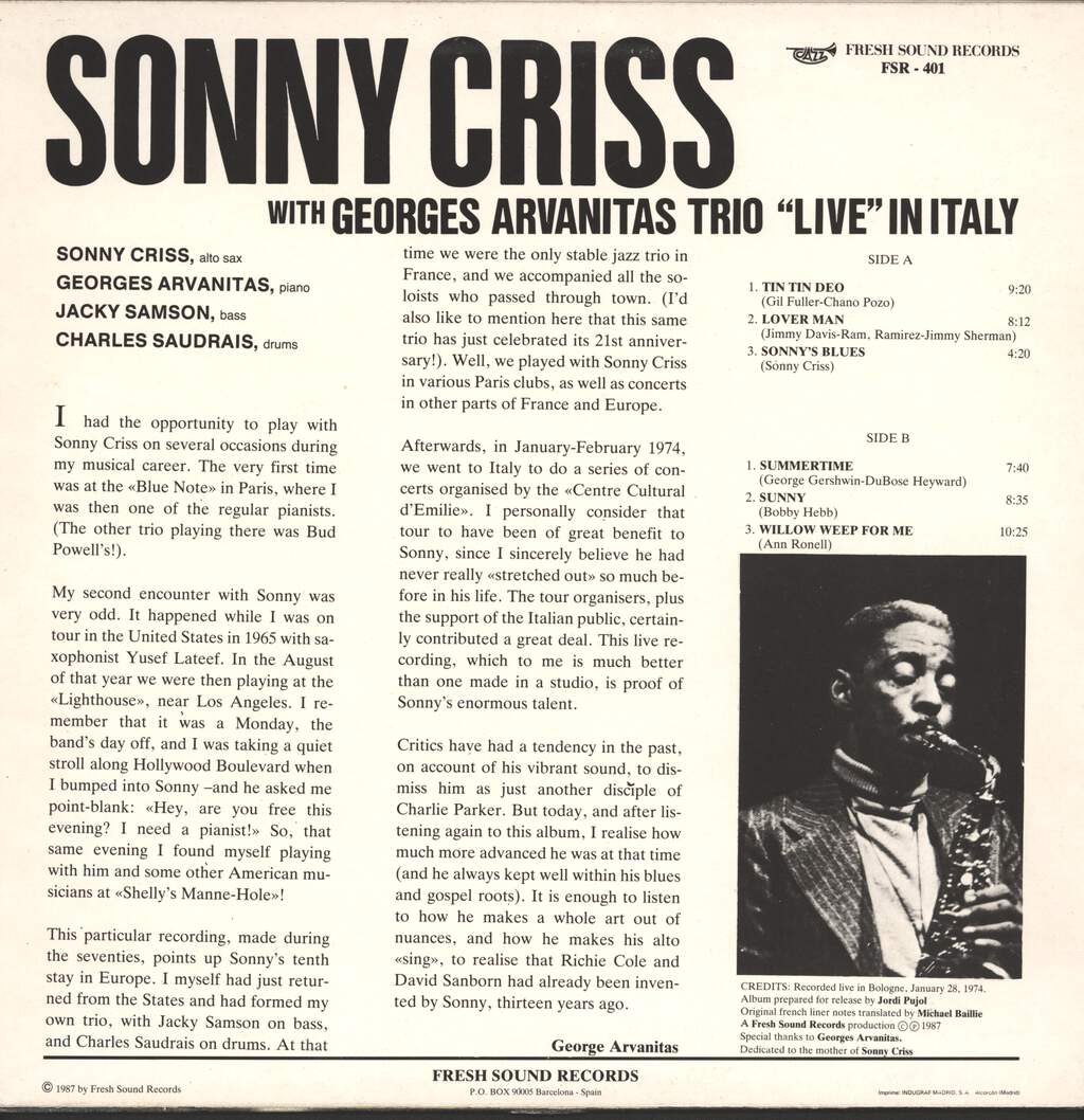 Sonny Criss: Live In Italy, LP (Vinyl)