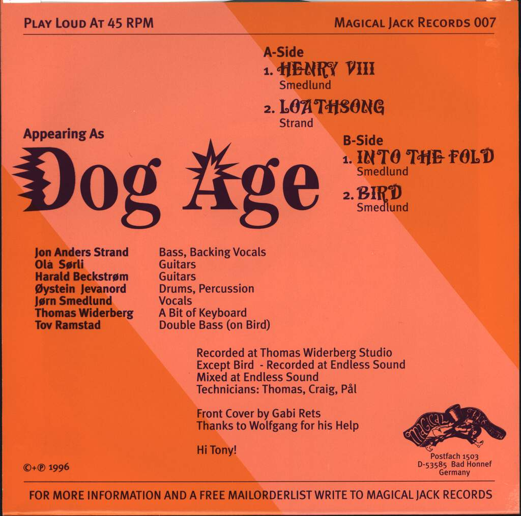 "Dog Age: Puddle, 7"" Single (Vinyl)"