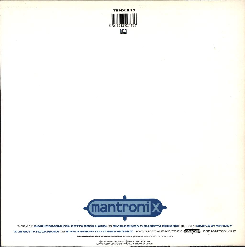 "Mantronix: Simple Simon, 12"" Maxi Single (Vinyl)"
