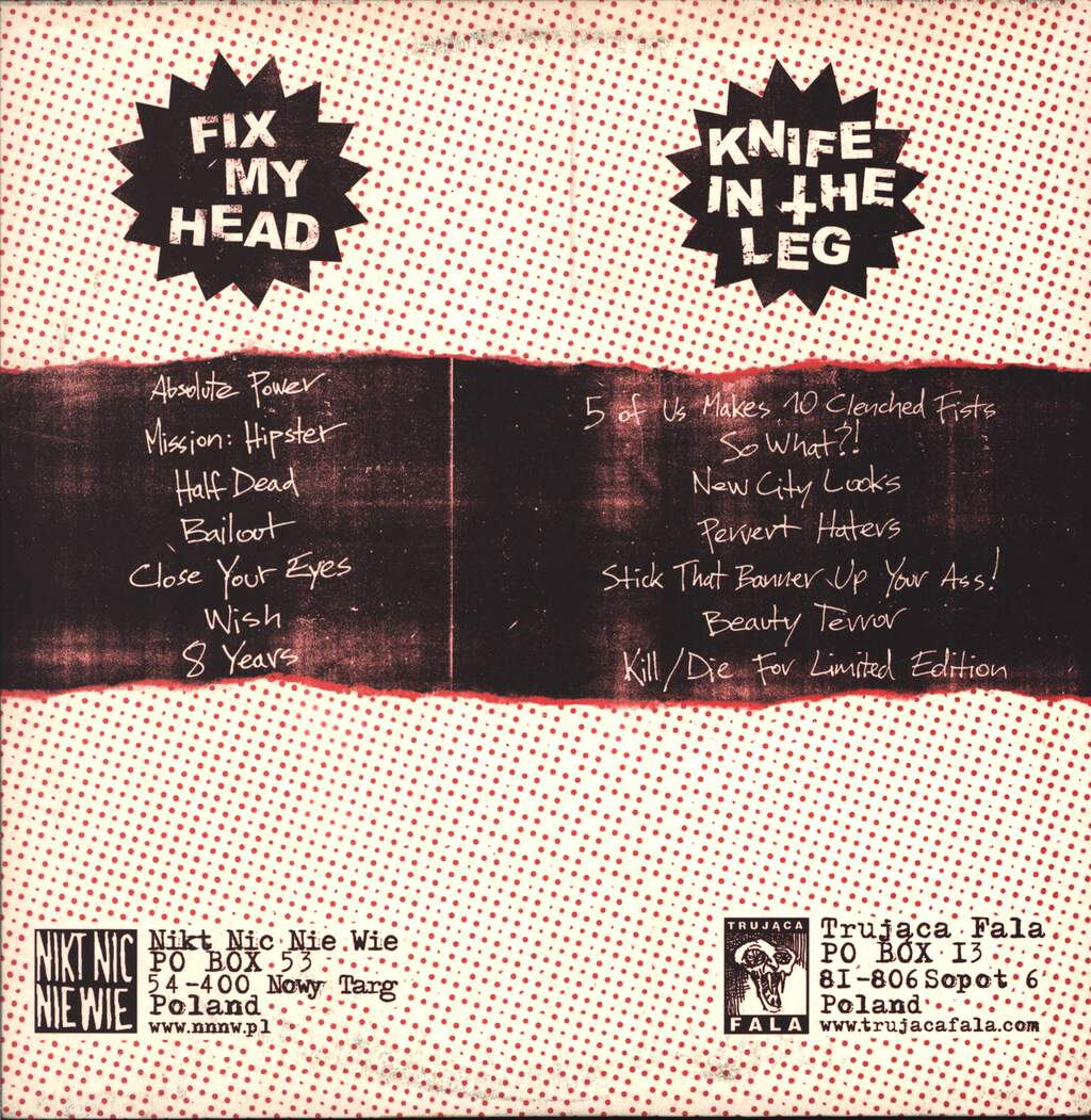 "Knife In The Leg: Knife In The Leg / Fix My Head, 12"" Maxi Single (Vinyl)"