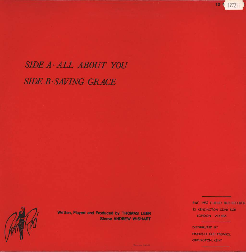 "Thomas Leer: All About You / Saving Grace, 12"" Maxi Single (Vinyl)"