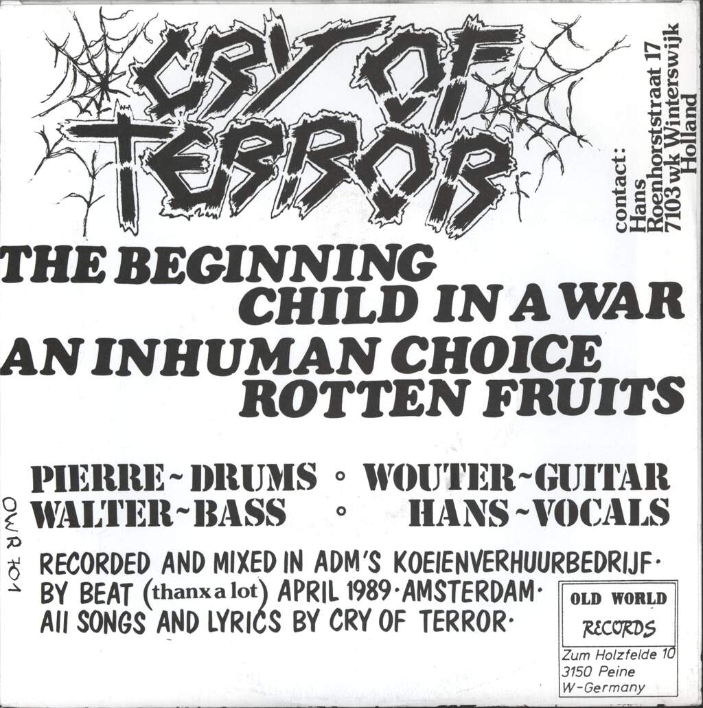 "Cry Of Terror: Cry Of Terror, 7"" Single (Vinyl)"