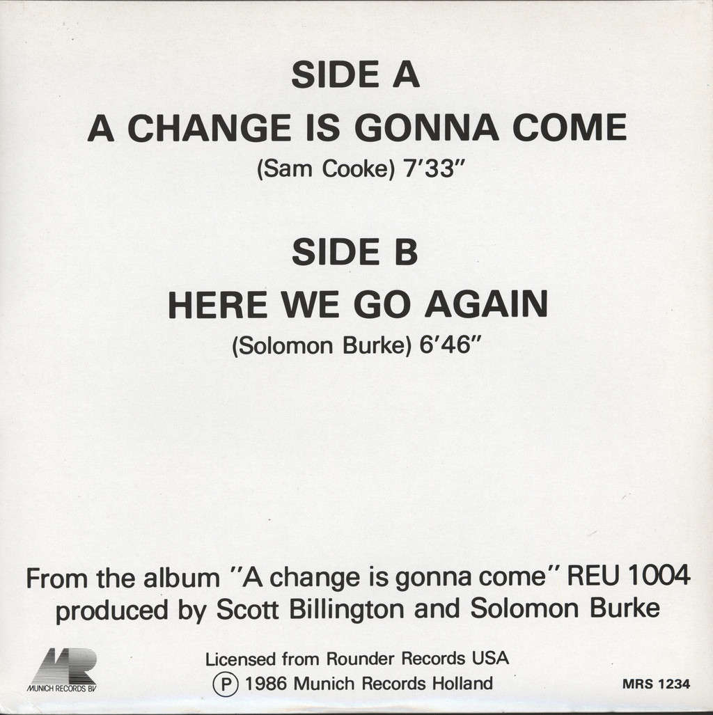 "Solomon Burke: A Change Is Gonna Come, 12"" Maxi Single (Vinyl)"