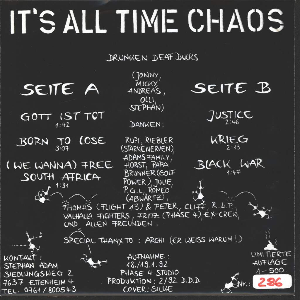 "Drunken Deaf Ducks: It's All Time Chaos, 7"" Single (Vinyl)"