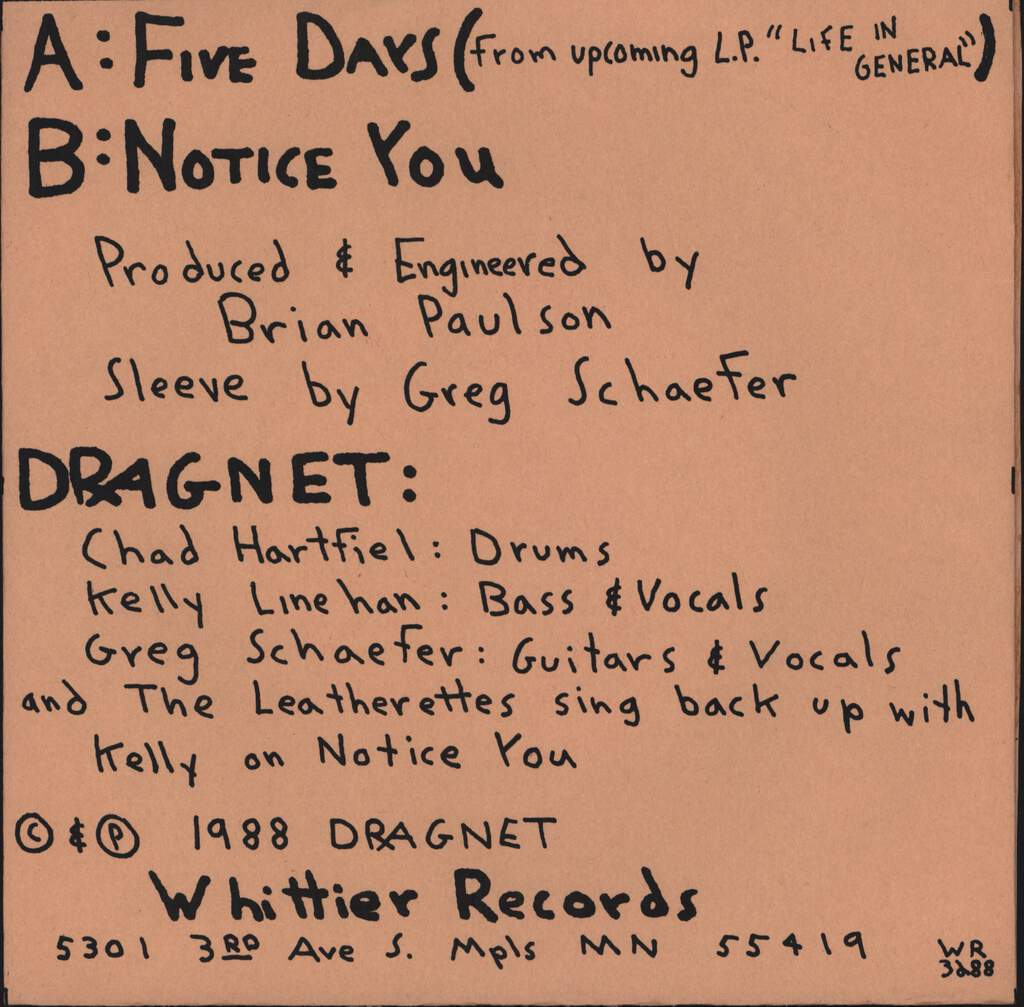 "Dragnet: Five Days, 7"" Single (Vinyl)"