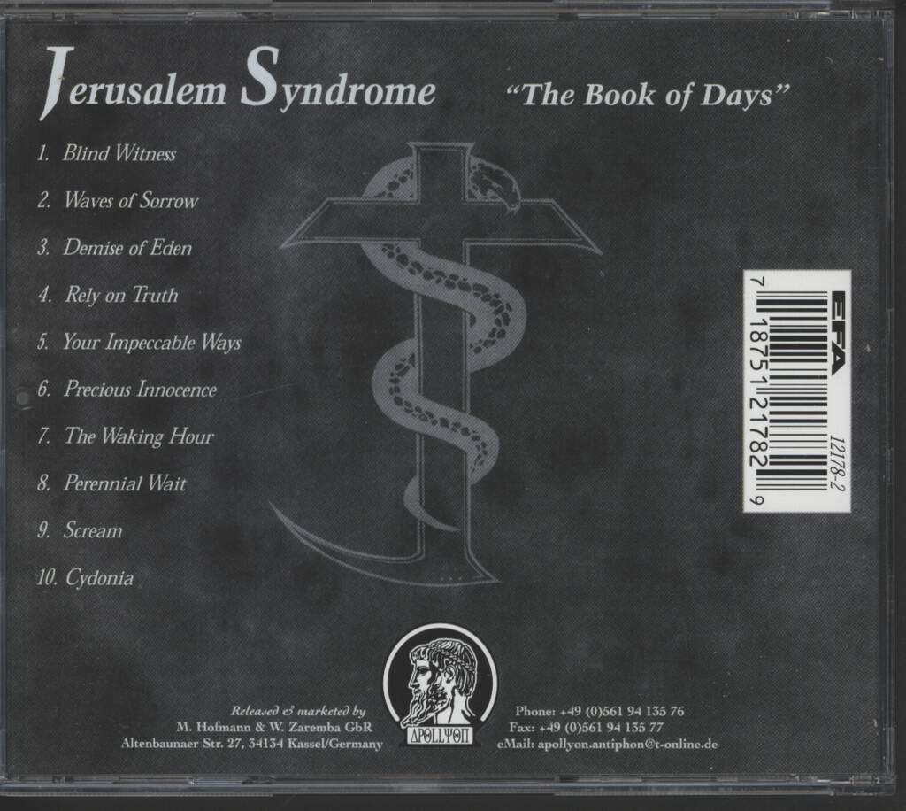 Jerusalem Syndrome: The Book Of Days, CD