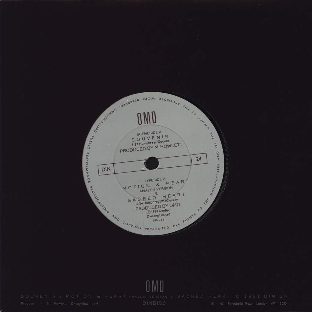 "Orchestral Manoeuvres In The Dark: Souvenir, 7"" Single (Vinyl)"