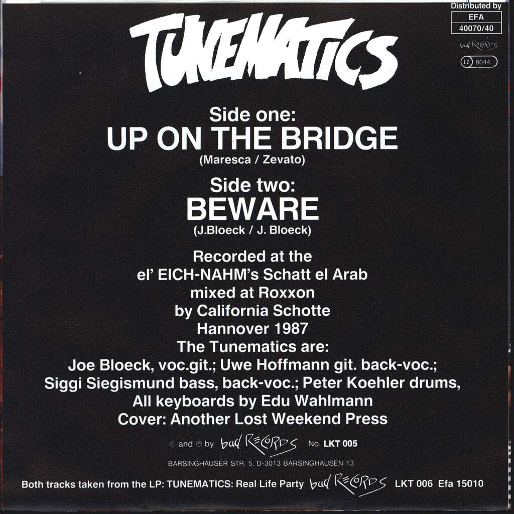 "Tunematics: Up On The Bridge / Beware, 7"" Single (Vinyl)"