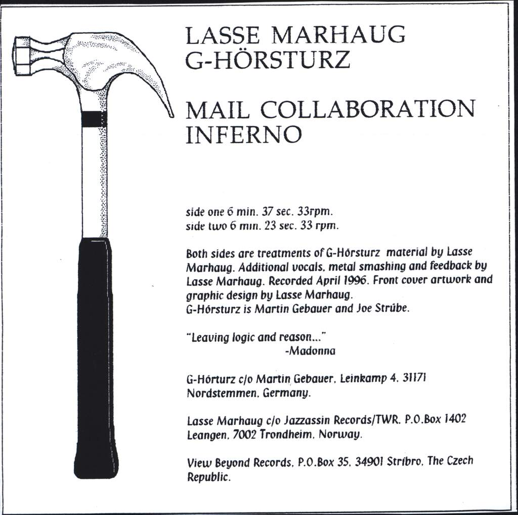 "Lasse Marhaug: Mail Collaboration Inferno, 7"" Single (Vinyl)"
