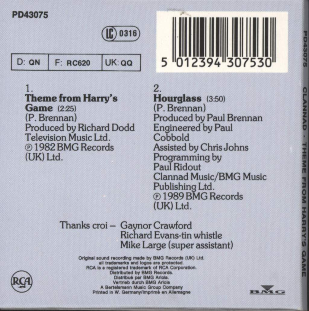 "Clannad: Theme From Harry's Game, 3"" CD"