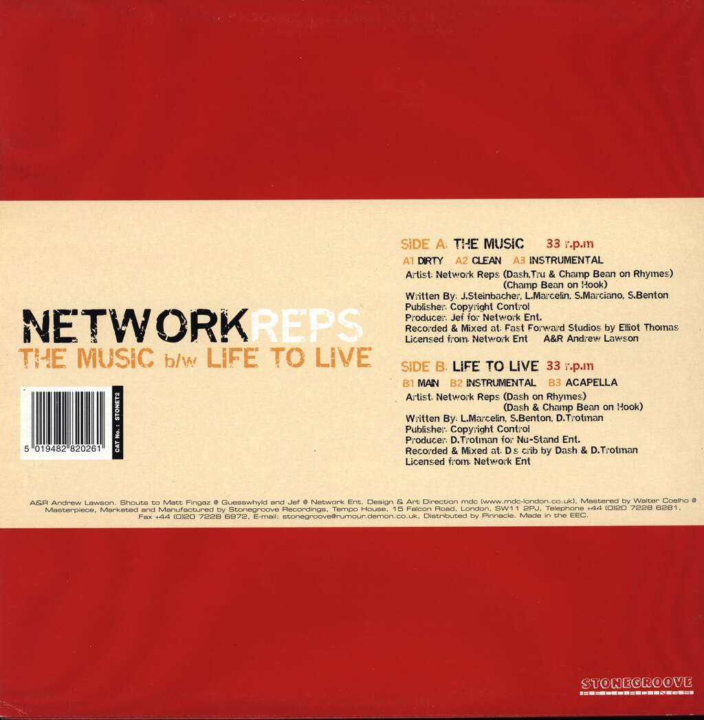 "Network Reps: The Music / Life To Live, 12"" Maxi Single (Vinyl)"