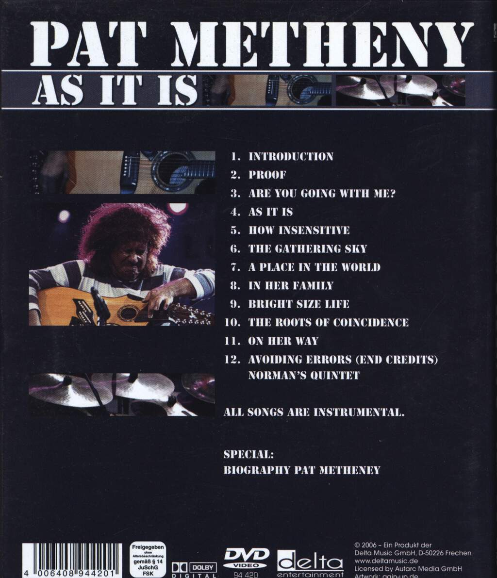 Pat Metheny: As It Is, DVD