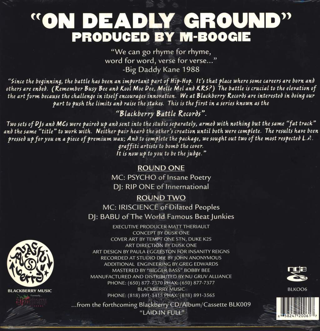 "Psycho: Blackberry Records Presents: On Deadly Ground, 12"" Maxi Single (Vinyl)"