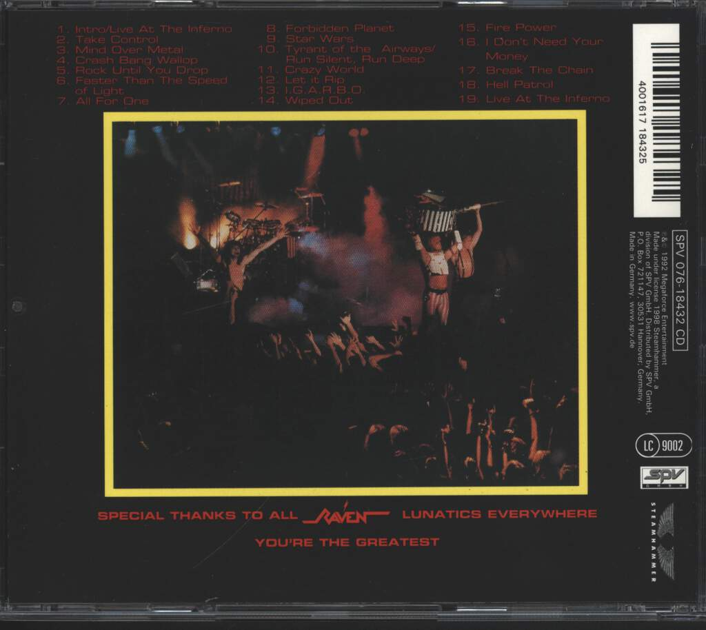 Raven: Live At The Inferno, CD