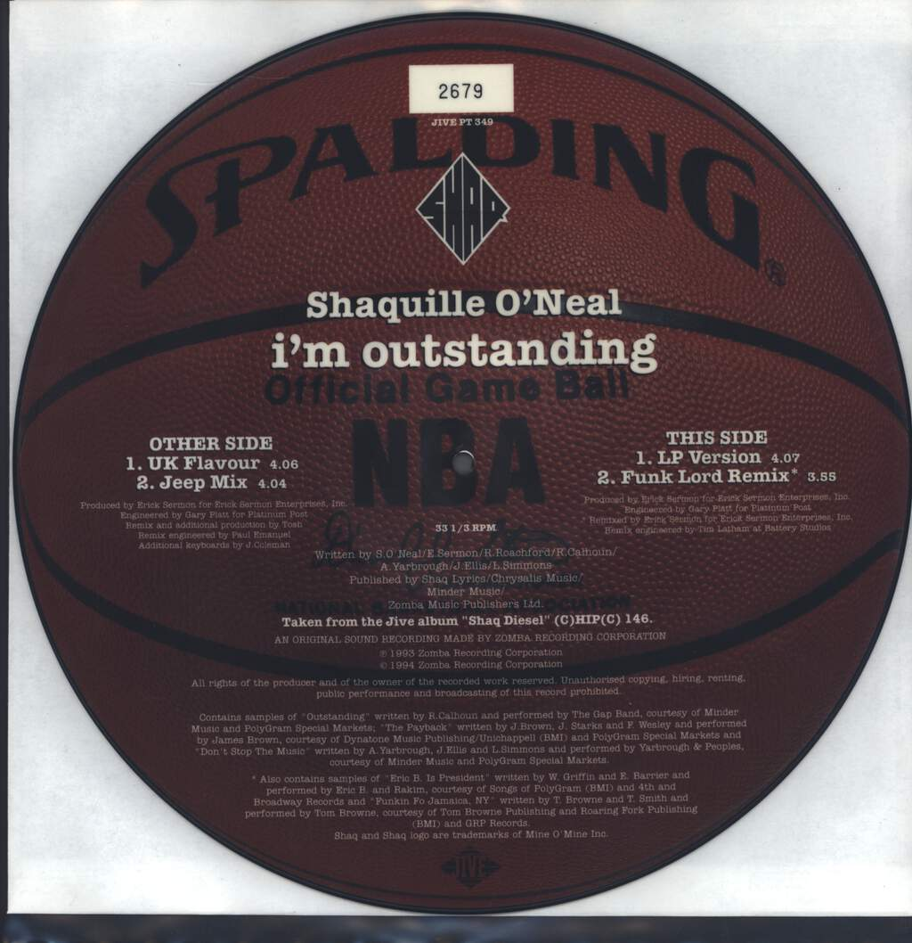 "Shaquille O'Neal: I'm Outstanding, 12"" Maxi Single (Vinyl)"