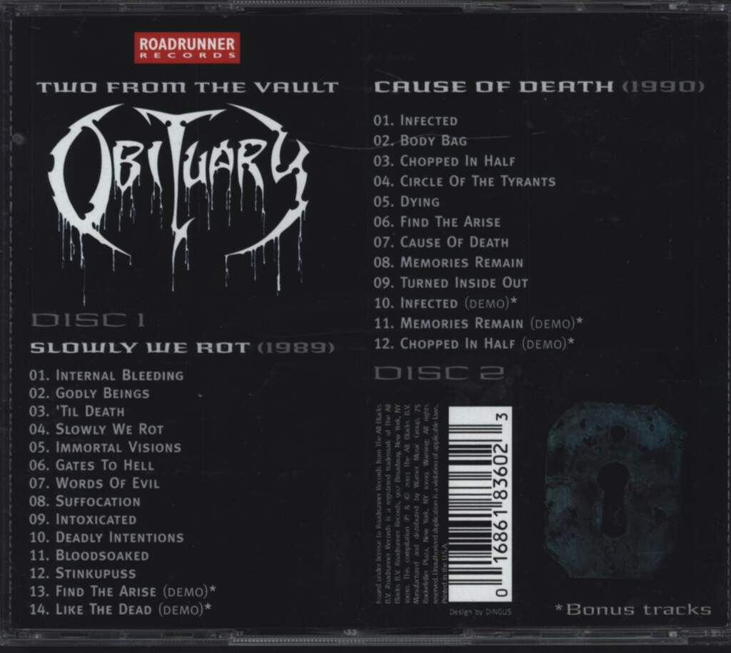 Obituary: Slowly We Rot / Cause Of Death, CD