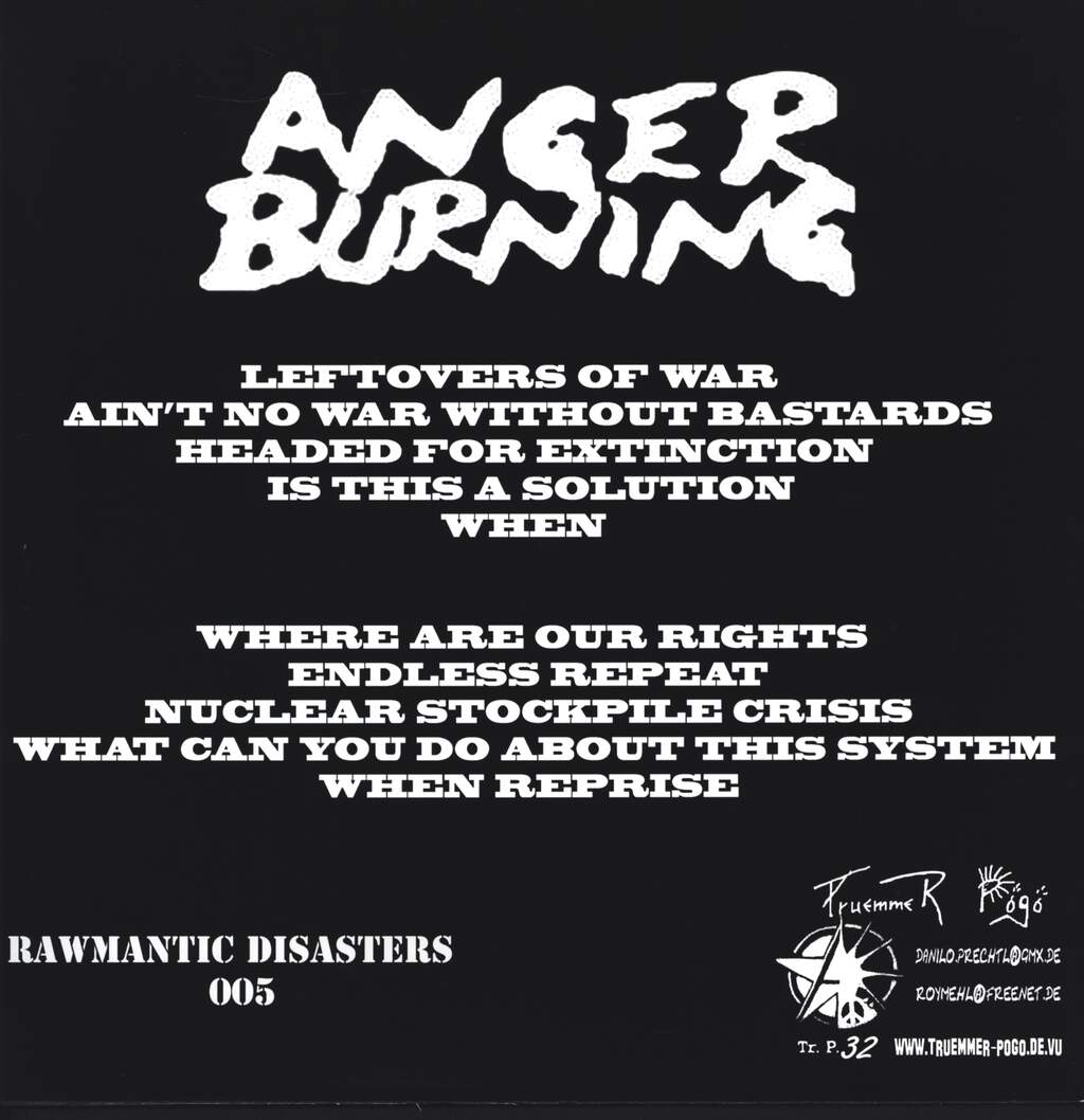 "Anger Burning: When, 12"" Maxi Single (Vinyl)"