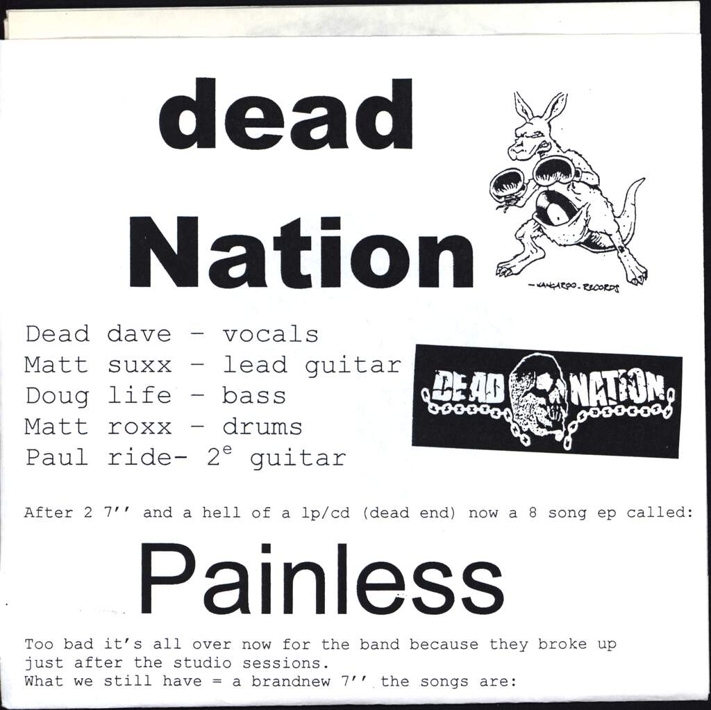 "Dead Nation: Painless, 7"" Single (Vinyl)"