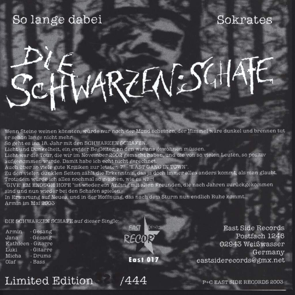 "Die Schwarzen Schafe: Give Em Enough Hope, 7"" Single (Vinyl)"
