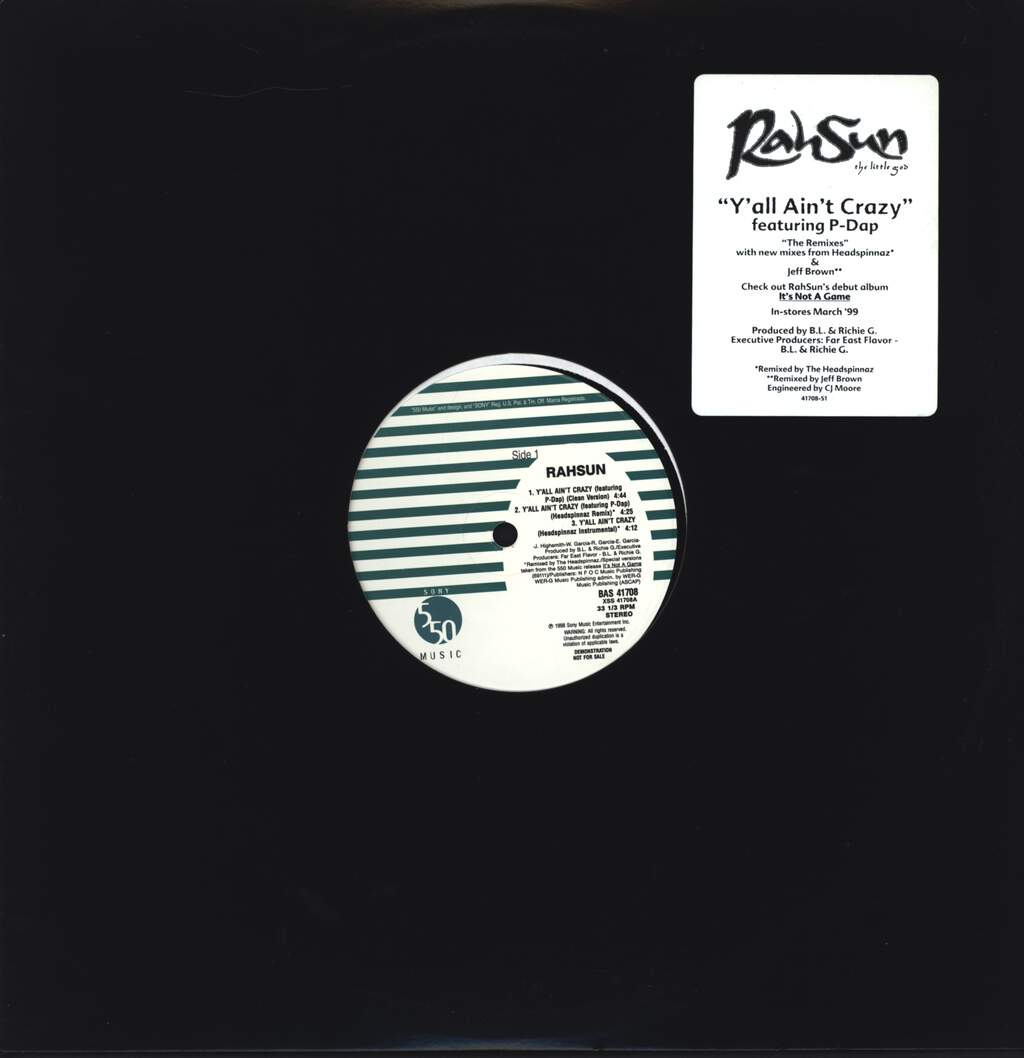 "Rahsun: Y'all Ain't Crazy, 12"" Maxi Single (Vinyl)"