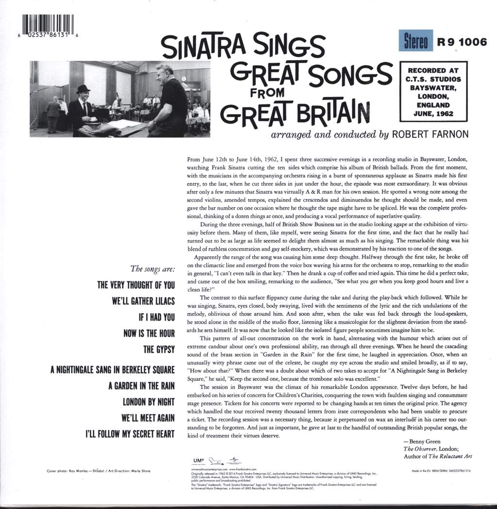 Frank Sinatra: Sinatra Sings Great Songs From Great Britain, LP (Vinyl)