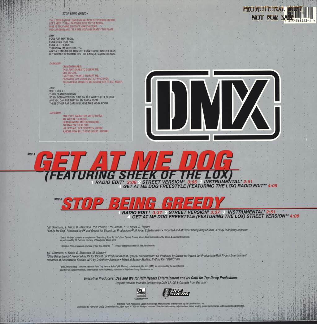 "Dmx: Get At Me Dog, 12"" Maxi Single (Vinyl)"
