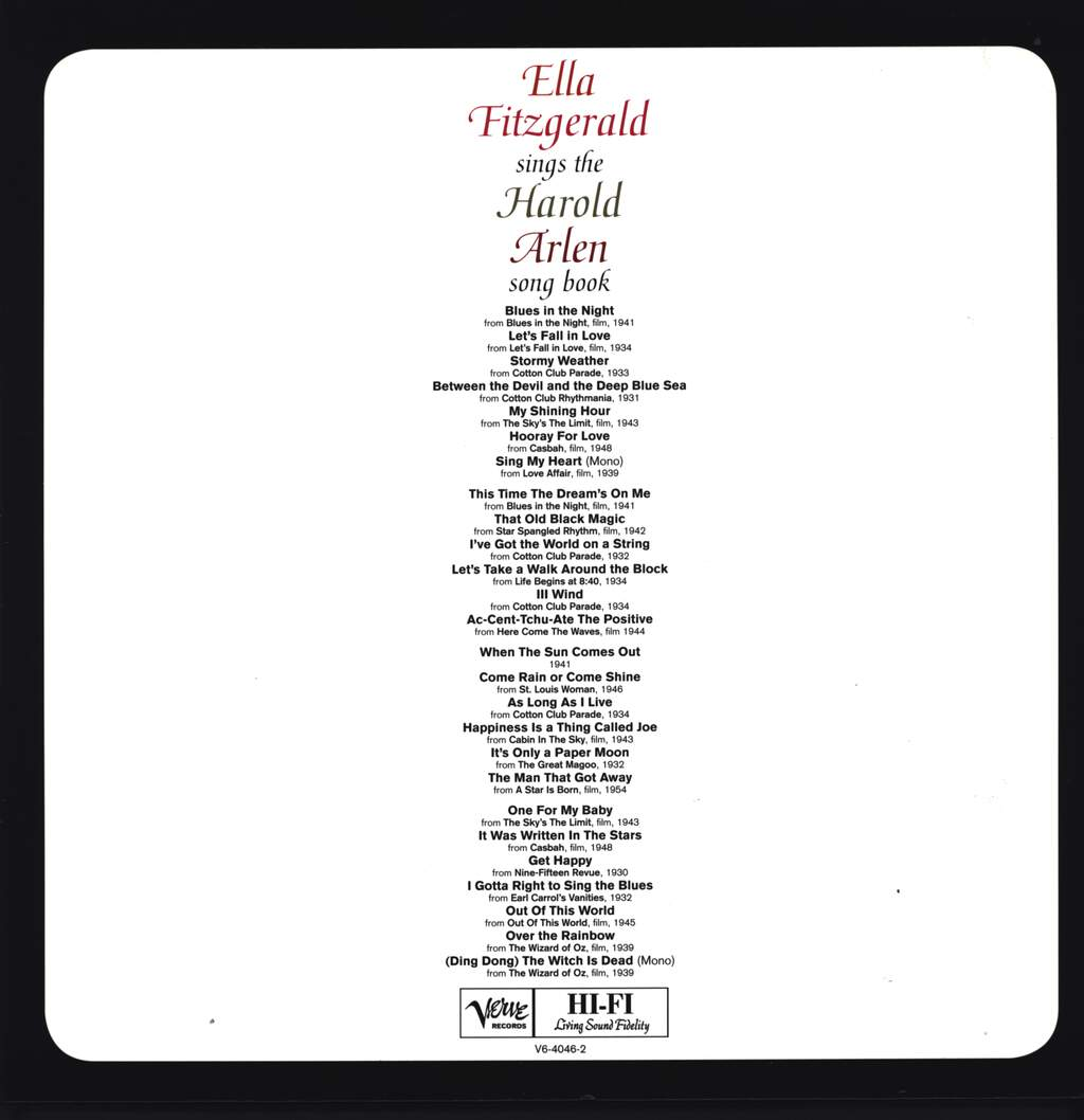 Ella Fitzgerald: Ella Fitzgerald Sings The Harold Arlen Song Book, LP (Vinyl)