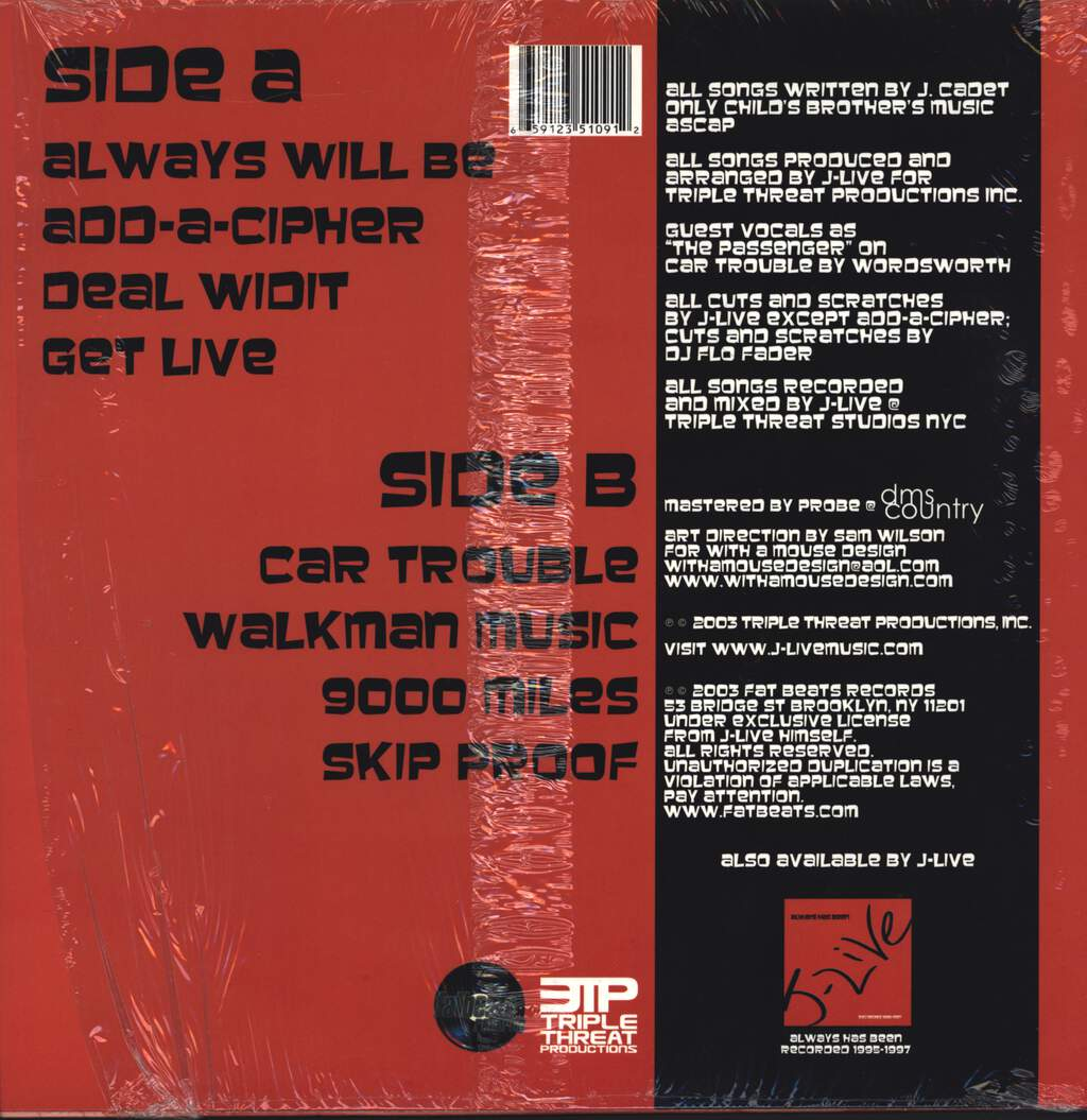 "J-Live: Always Will Be, 12"" Maxi Single (Vinyl)"