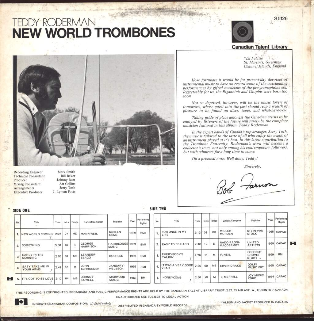 Teddy Roderman: New World Trombones, LP (Vinyl)