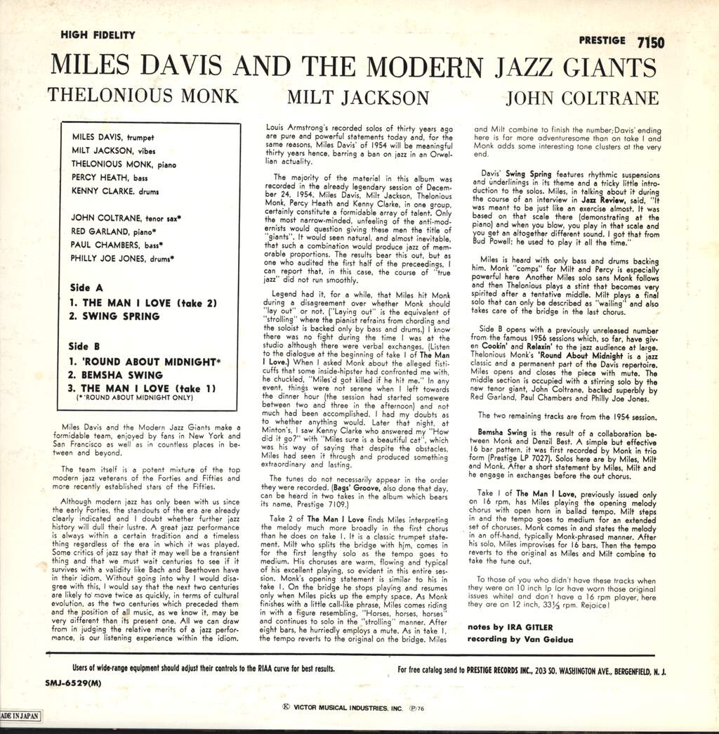 Miles Davis: Miles Davis And The Modern Jazz Giants, LP (Vinyl)