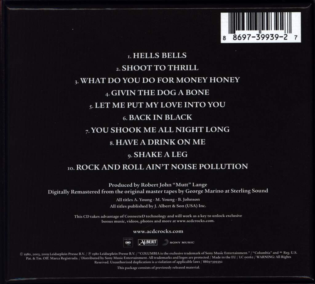 AC/DC: Back In Black, CD