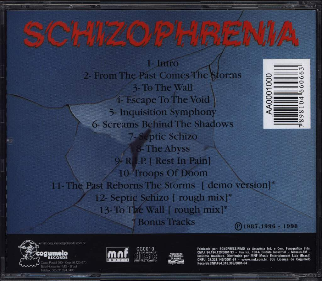 Sepultura: Schizophrenia, CD