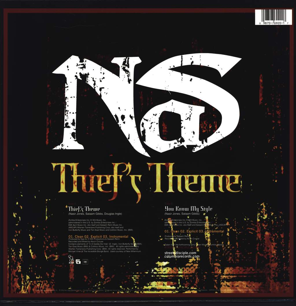 "Nas: Thief's Theme / You Know My Style, 12"" Maxi Single (Vinyl)"