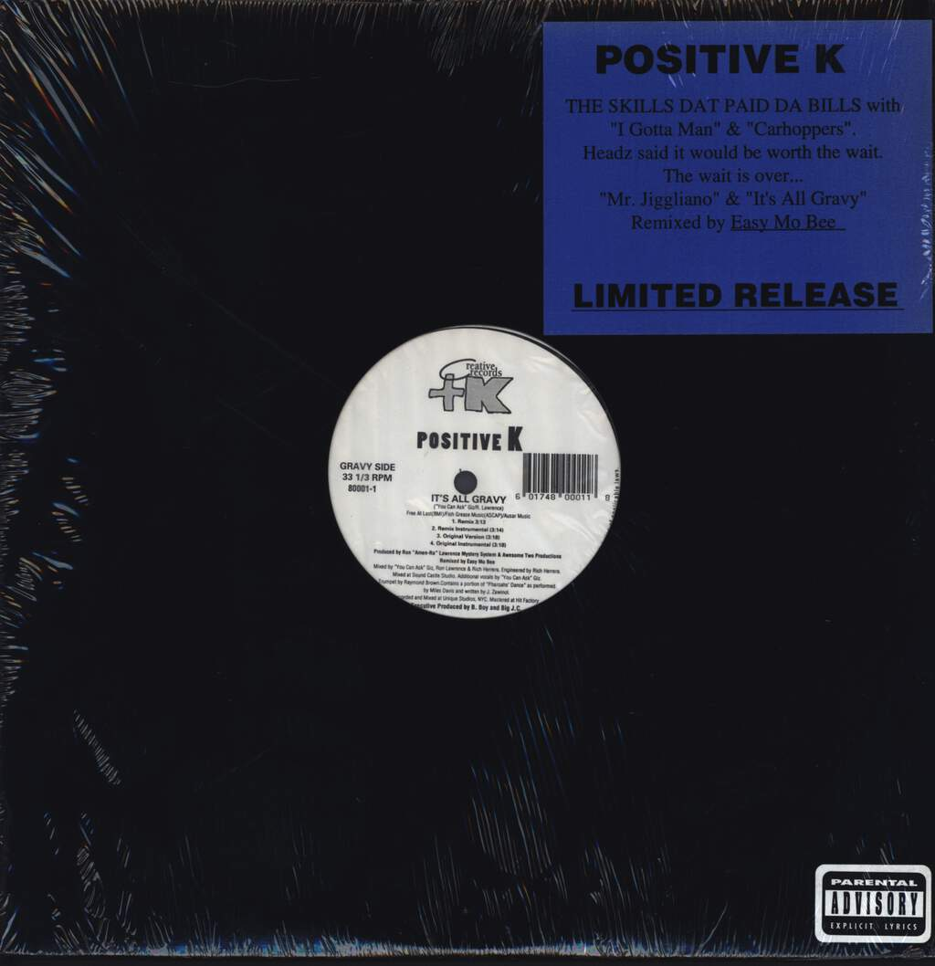 "Positive K: Mr. Jiggliano / It's All Gravy, 12"" Maxi Single (Vinyl)"