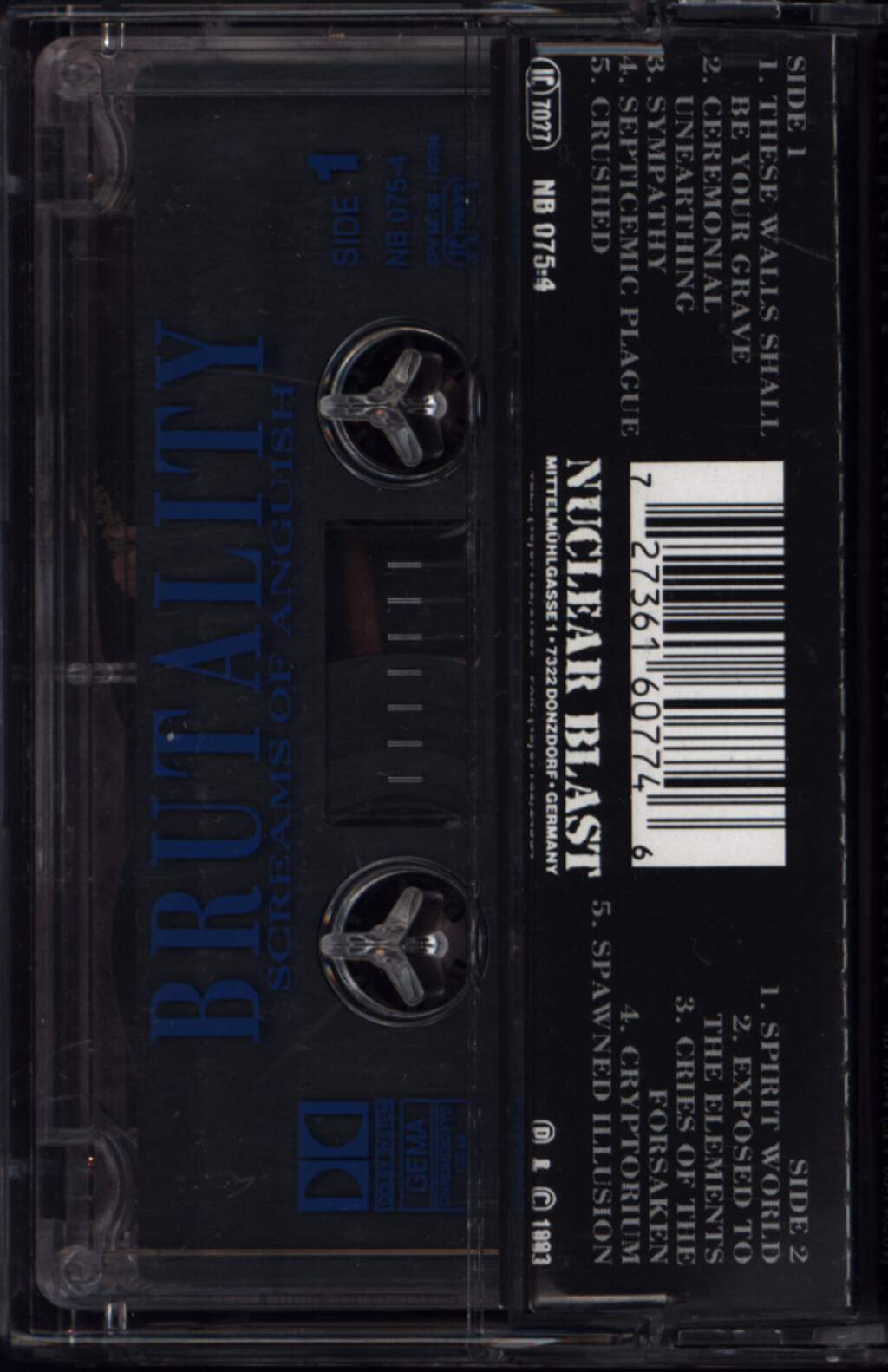 Brutality: Screams Of Anguish, Compact Cassette