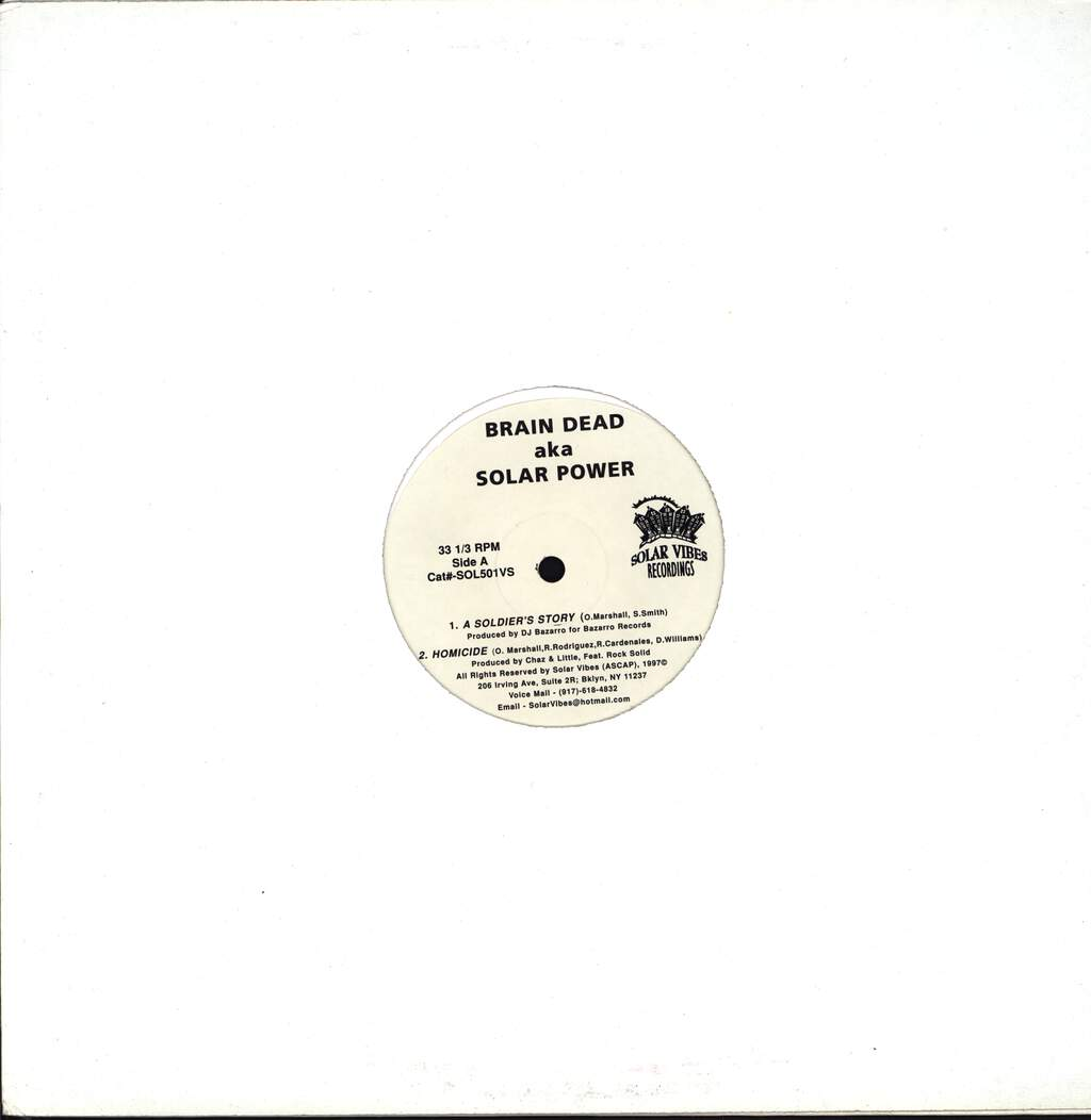 "Brain Dead: A Soldier's Story / Homicide, 12"" Maxi Single (Vinyl)"