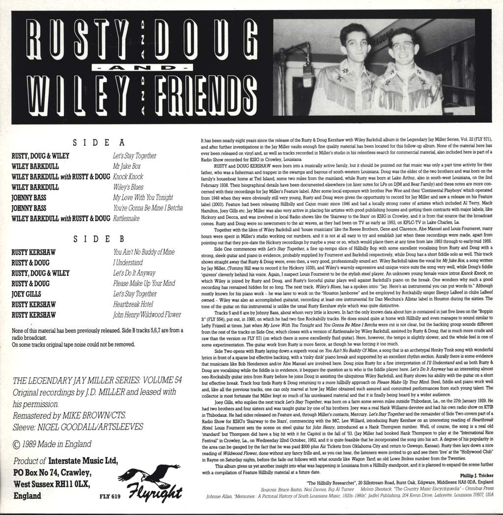 "Rusty & Doug Kershaw: Rusty,  Doug,  Wiley & Friends, 12"" Maxi Single (Vinyl)"