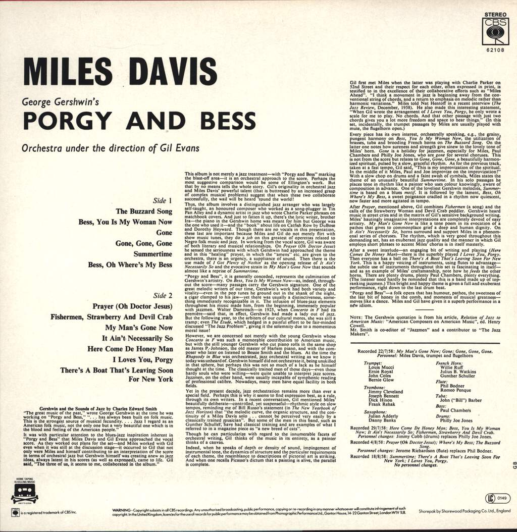 Miles Davis: Porgy And Bess, LP (Vinyl)
